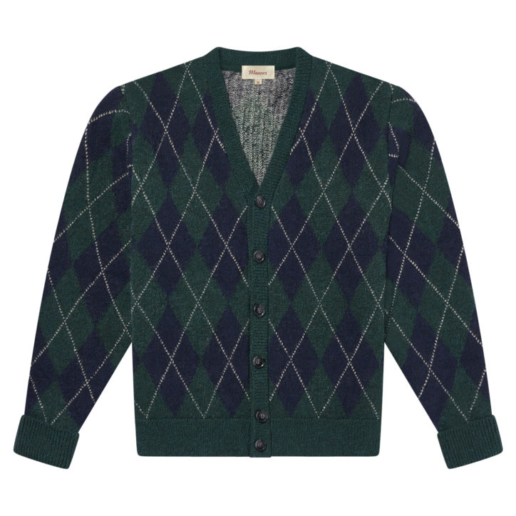 Green Argyle Cardigan