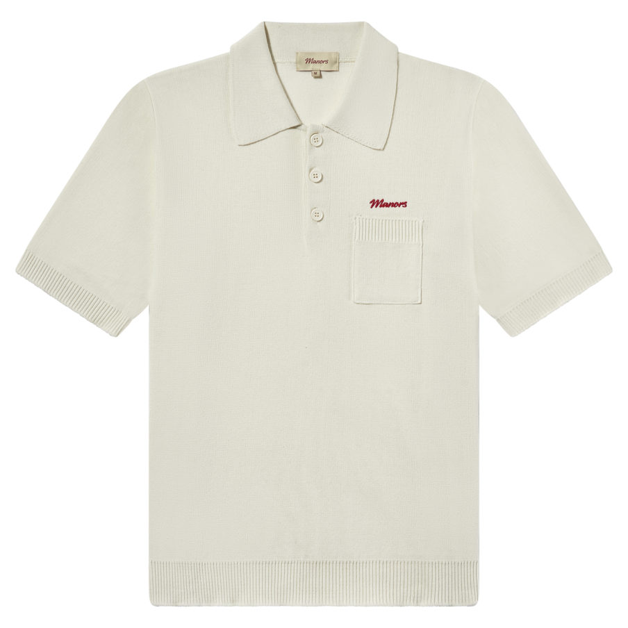 Manors Golf - Knitted Polo Off White