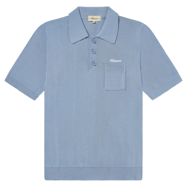 Manors Golf - Knitted Polo Light Blue